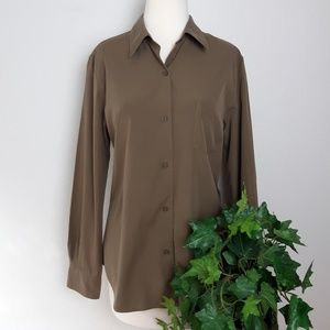 Calvin Klein Olive Green Long Sleeve Button Up Top